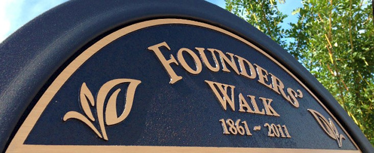 The Founders' Walk placard