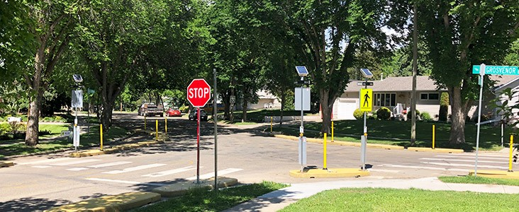 Grandin Intersection with traffic calming installed