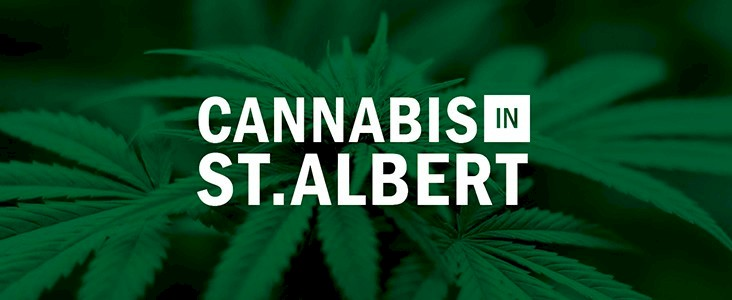 Cannabis leaves with the words Cannabis in St. Albert
