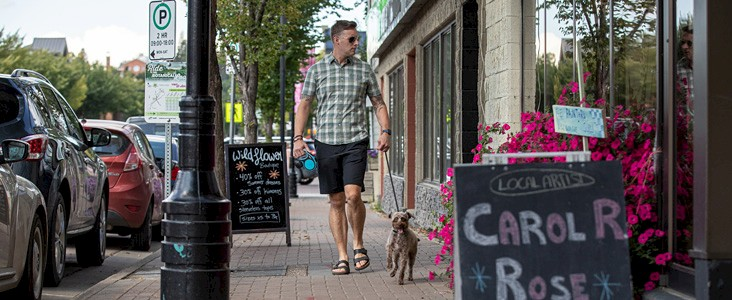 A man browses boutiques with his dog in the Perron District