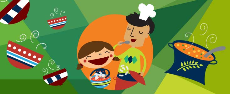 Illustration of girl and man cooking and eating soup