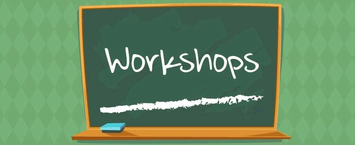 Illustration of a chalkboard with the word workshops written on it