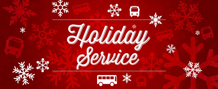 """A banner showing buses and snowflakes titled """"Holiday Service"""""""