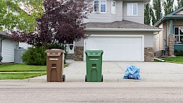 Garbage Cart, Organics Cart, and Recycling set out for collection