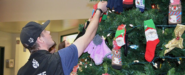 A man attaches a decoration to a Christmas tree