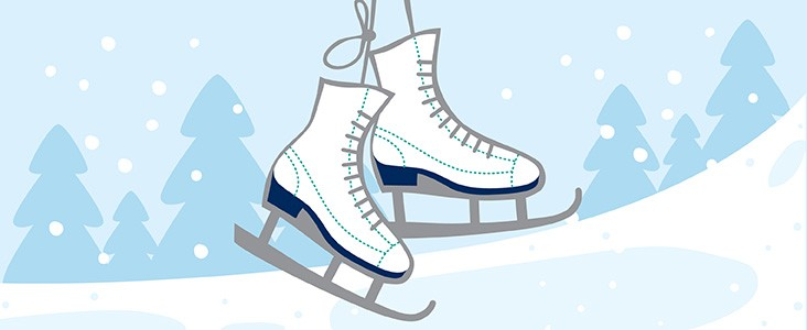 A pair of dangling skates with a wintery background