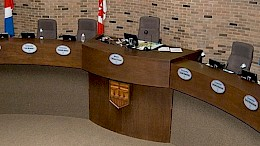 A view of Council Chambers from the Public Gallery