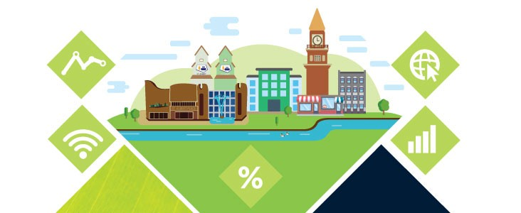 Vector illustration of St. Albert landmarks with technology based icons floating around it