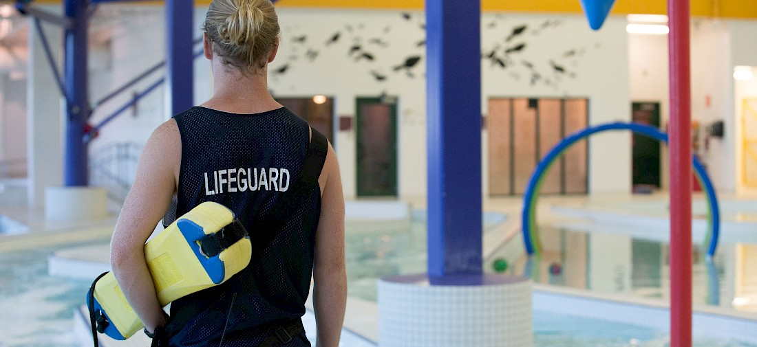 Lifeguard on duty in the Landrex Water Play Centre at Servus Place