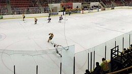 A panoramic view of a children's hockey game