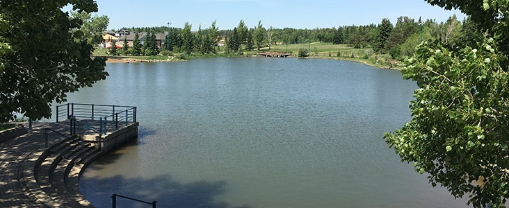 View of Lacombe Lake in Lacombe Lake Park in Saint Albert, Alberta
