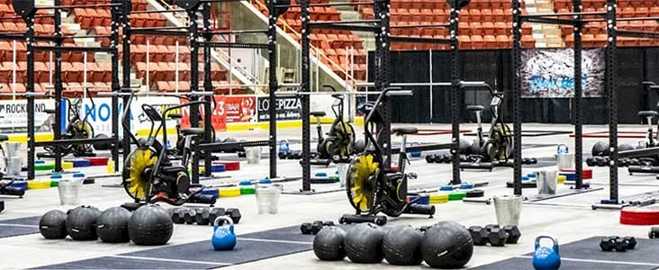 Various Crossfit equipment set up at Servus Place