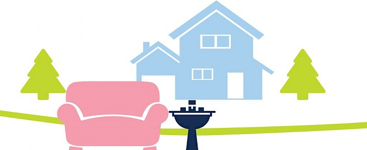 drawing of couch and sink set-out for pickup at the curb